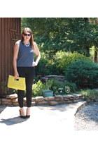 black JCrew pants - yellow Charming Charlie bag - navy top