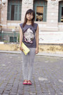 Charcoal-gray-sequined-mango-shirt-light-yellow-accessorize-bag