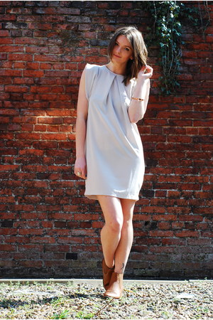 light pink asos dress - tawny Republic boots - light pink whistles bracelet