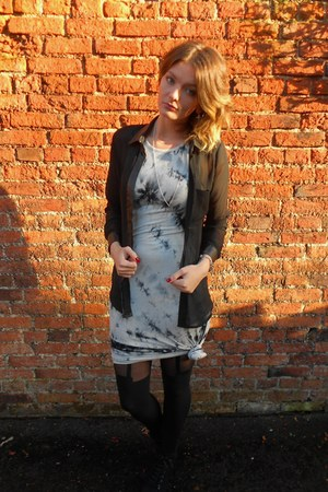 white tie dye Glamorous dress - black House of Holland tights