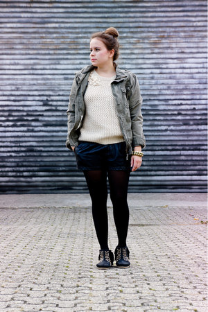Zara boots - by my brother H&M jacket - Zara shorts - OASAP jumper