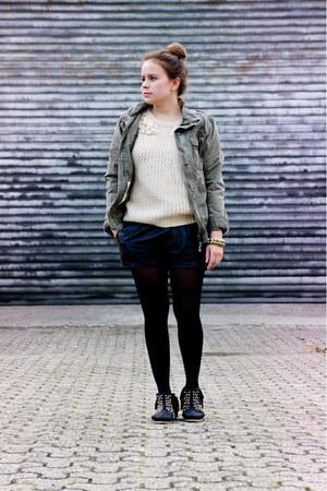 Zara boots - by my brother H&M jacket - Zara shorts - OASAP jumper