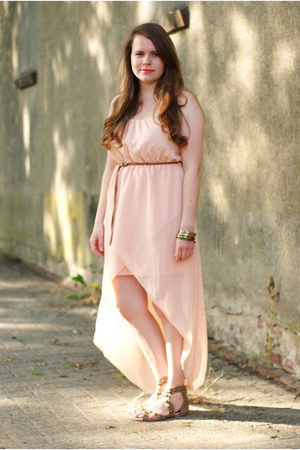 peach Zara dress - tan Primark sandals