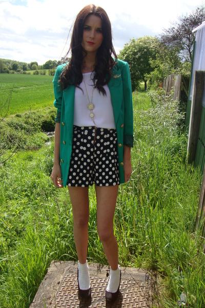 vibrant green Annie and the Mannequins blazer - polka dot Topshop shorts - white
