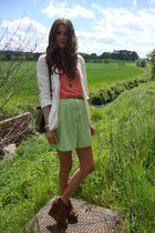 ivory H&M blazer - lime green Annie and the Mannequins shorts - salmon Annie and