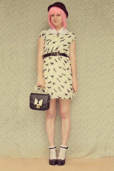 cream no brand dress - black OASAP bag - black bow embellished wholesale heels