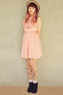 Light-pink-shiny-pink-vintage-dress-black-suede-lace-up-rubi-shoes-boots