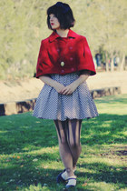 ruby red cape style DIY coat - periwinkle chicabooti dress - nude OASAP tights