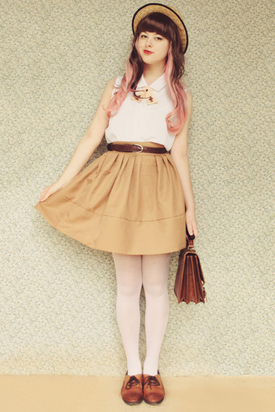 cream sheer vintage tights - dark brown vintage bag