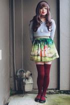 chartreuse Sheinside skirt - maroon OASAP socks