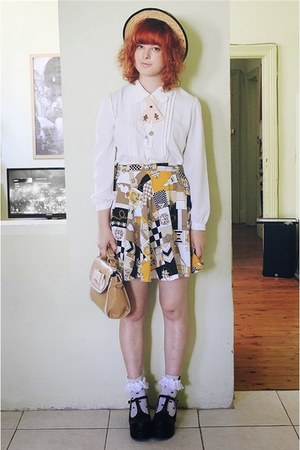 yellow DIY skirt - ivory thrifted blouse - beige Flapper Girl tie