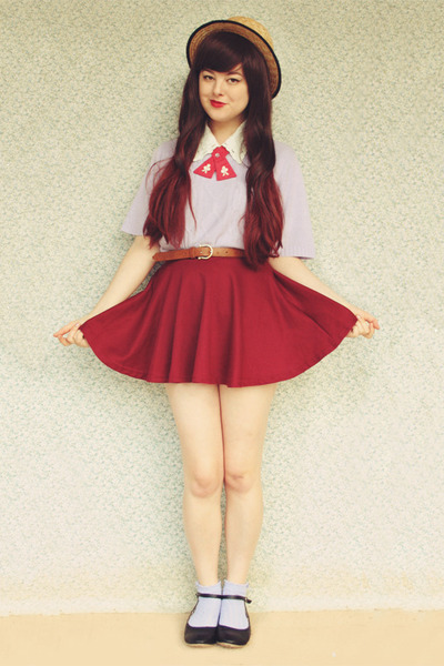 brick red circle Sheinside skirt - light purple vintage sweater