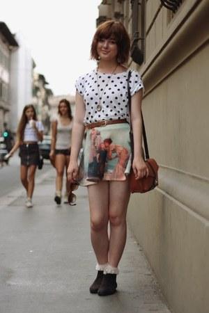 sky blue romwe skirt - cream OASAP socks