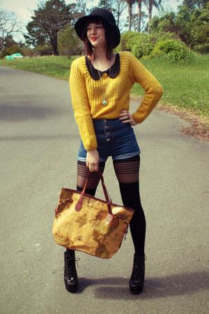 mustard wholesale sweater - black wholesale boots - black cotton on hat