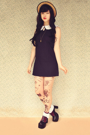 black Topb2c shoes - navy Sheinside dress - beige wholesale hat