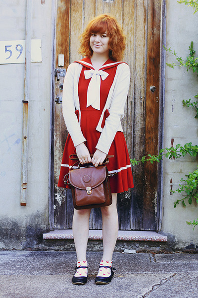 red sailor style Dangerfield dress