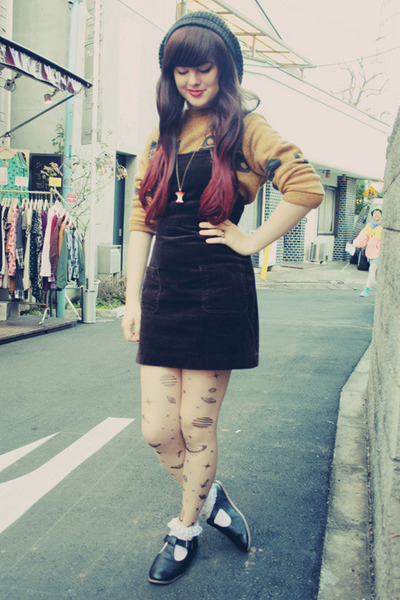 dark brown vintage skirt - dark khaki Harajuku sweater - silver Ebay tights