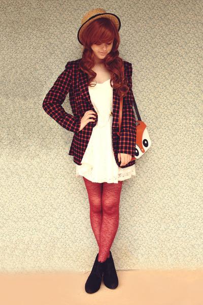 tawny fox face Ebay bag - black Rubi shoes boots - white lace Koogal dress