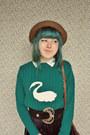 Turquoise-blue-swan-print-diy-sweater-brown-straw-bowler-wholesale-dress-hat