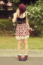 maroon floral skirt Forever 21 skirt - cream petticoat vintage skirt