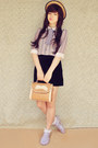 Black-vintage-skirt-beige-wholesale-hat-camel-cupcake-mochi-beaucoup-bag