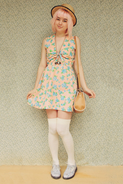 periwinkle Dr Martens boots - peach cutout floral moddolly dress