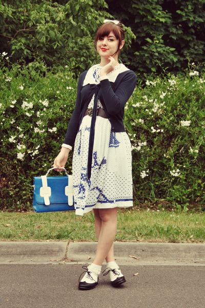 blue Wholesale-Dress bag - white vintage dress - white lace socks vintage socks
