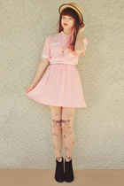 beige boater wholesale hat - black Rubi shoes boots - light pink vintage dress