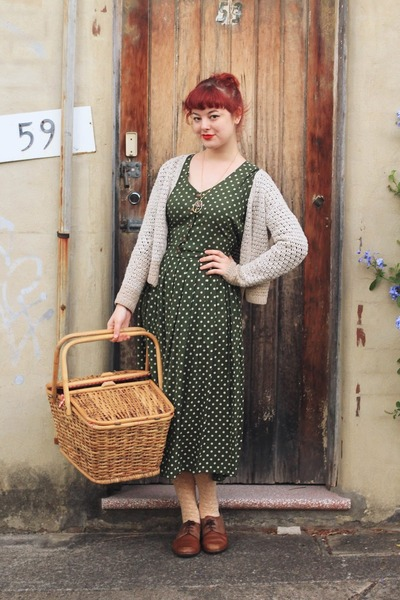 olive green polka dot thrifted dress - dark brown NAOT shoes
