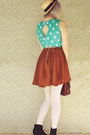 Sky-blue-diy-dress-beige-boater-wholesale-hat-white-striped-oasap-tights