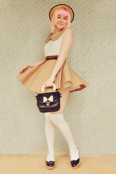 beige DIY dress - black OASAP shoes - camel boater wholesale hat