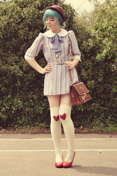 Light Purple Vintage Dresses Maroon Woolen Bowler Vintage Hats | u0026quot;DIY Heart Patches u0026 A Vintage ...