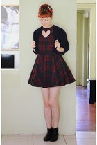 crimson DIY dress - black Golden Ponies boots - navy thrifted cardigan