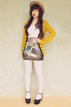 heather gray buildings print romwe skirt - black Label Shoes shoes