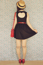 red patent wholesale heels - black heart cut-out romwe dress