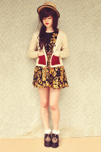 white cotton on socks - mustard flatform OASAP shoes - gold Koogal dress