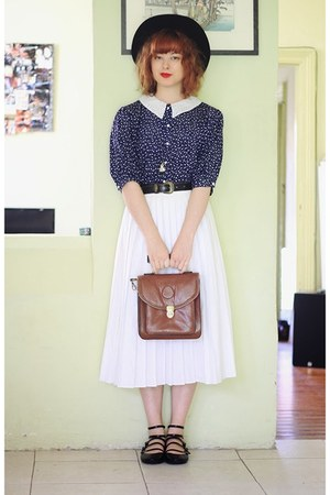 black vintage hat - brown vintage bag - white vintage skirt