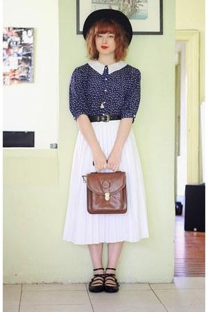 black vintage hat - brown vintage bag - white vintage skirt