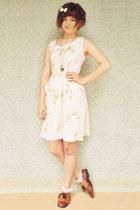 white Tutuanna socks - off white Naughty Shorts dress - tawny vintage flats