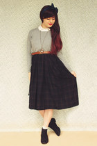 forest green vintage dress - black asos boots - heather gray Sheinside sweater