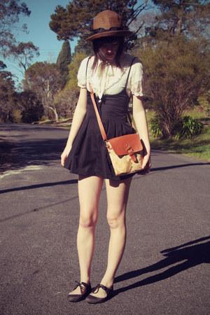 dark brown wholesale hat - burnt orange world-print bag wholesale bag
