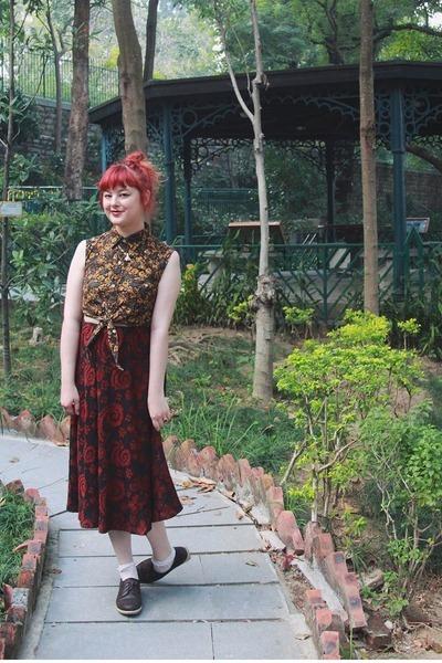 crimson vintage skirt - dark brown kedma NAOT shoes - army green vintage blouse