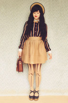 brown vintage bag - black Chicory shoes - beige wholesale hat