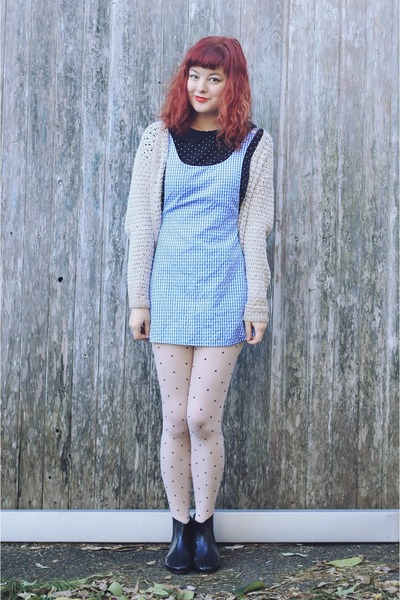 sky blue pinafore DIY dress - black Golden Ponies boots - black thrifted blouse