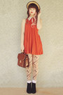 Black-rubi-shoes-boots-carrot-orange-swing-collar-asos-dress