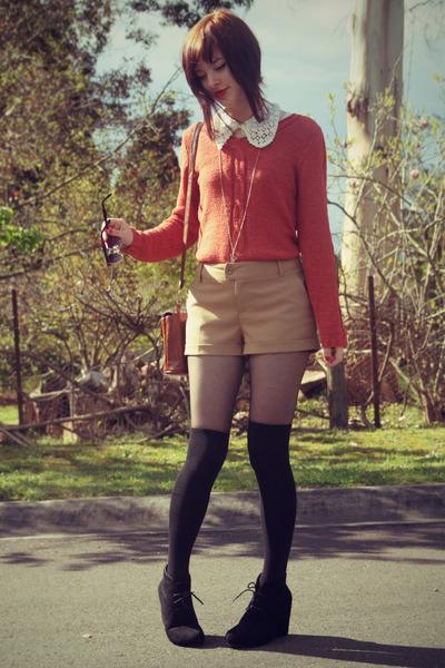 dark brown glasses markets glasses - burnt orange vintage sweater