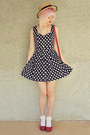 Navy-paper-scissors-dress-beige-boater-wholesale-hat