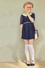 Navy-market-stall-dress-beige-straw-boater-wholesale-hat