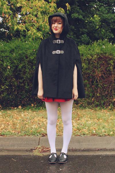 black cape OASAP coat - black Rubi shoes shoes - white wholesale tights