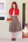 Brown-naot-shoes-red-house-shaped-thrifted-purse
